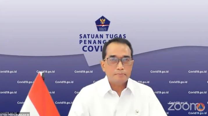 Menteri Perhubungan, Budi Karya Sumadi Saat Sosialisasi Pengaturan Perjalanan Selama Pemberlakuan PPKM Darurat. (Tangkapan Layar Youtube @BNPB Indonesia)