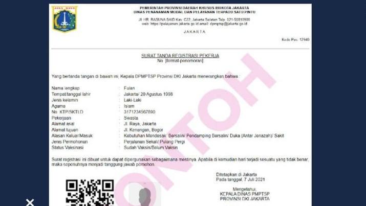Pemprov DKI Jakarta memberlakukan Surat  Tanda Registrasi Pekerja (STRP) selama PPKM Darurat, 5-20 Juli 2021. (Dok: IG :dkijakarta)