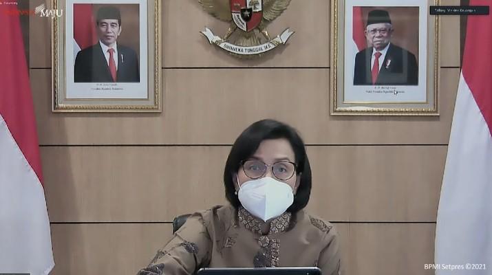 Sri Mulyani dalam keterangan pers terkait hasil sidang kabinet paripurna, Jakarta, (5/7/2021). (Dok: Tangkapan layar Youtibe Setpres RI)