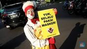 Unik! Aksi Badut Turun ke Jalan Kampanye Protokol Kesehatan