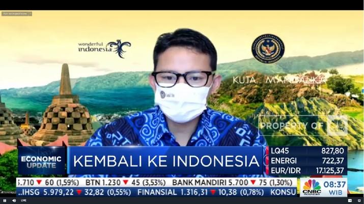 Menteri Pariwisara Sandiaga Uno di acara Economic Update, CNBC Indonesia.