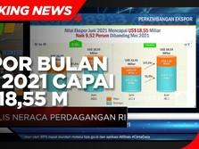 Naik 54,56% (yoy), Ekspor Bulan Juni 2021 Capai USD 18,55 M