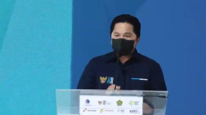 Menteri BUMN Erick Thohir saat Peresmian RSPJ Extensi Arafah Asrama Haji Embarkasi Jakarta. (Tangakapan Layar Youtube pertamedika training)