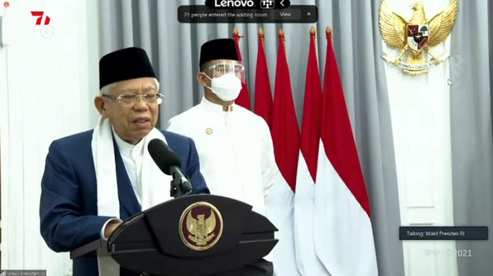 Tausiyah Wakil Presiden KH Ma'ruf Amin Saat Takbir Akbar Hari Raya Idul Adha 1442 H/ 2021 M, 19 Juli 2021. (Tangkapan Layar Youtube Sekretariat Presiden)