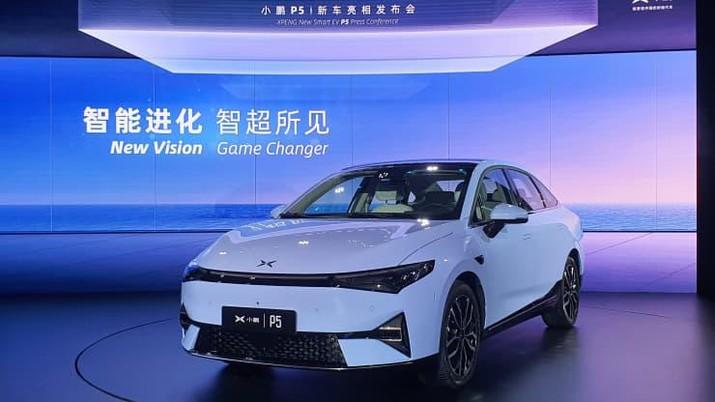 Xpeng Motors meluncurkan sedan P5 di sebuah acara di Guangzhou, Cina pada 14 April 2021.(Arjun Kharpal | CNBC)