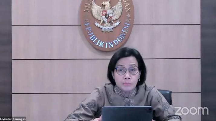 Menteri Keuangan Sri Mulyani Saat Konferensi Pers Tindak Lanjut terkait Perkembangan Terkini Penerapan PPKM. (Tangkapan Layar Youtube PerekonomianRI)