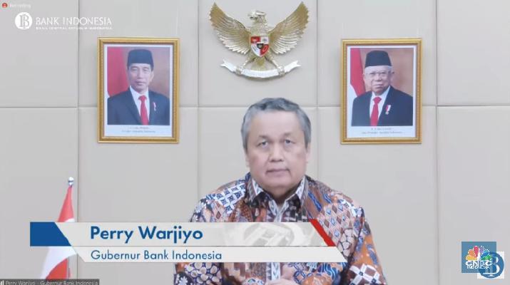 Gubernur Bank Indonesia, Perry Warjiyo Saat Pengumuman Hasil Rapat Dewan Gubernur Bulan Juli 2021 dengan Cakupan Triwulanan (Tangkapan Layar Youtube  Bank Indonesia)