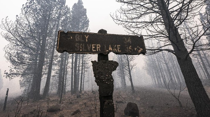 A sign damaged by the Bootleg Fire stands among the haze on Thursday, July 22, 2021, near Paisley, Ore. (AP Photo/Nathan Howard)
