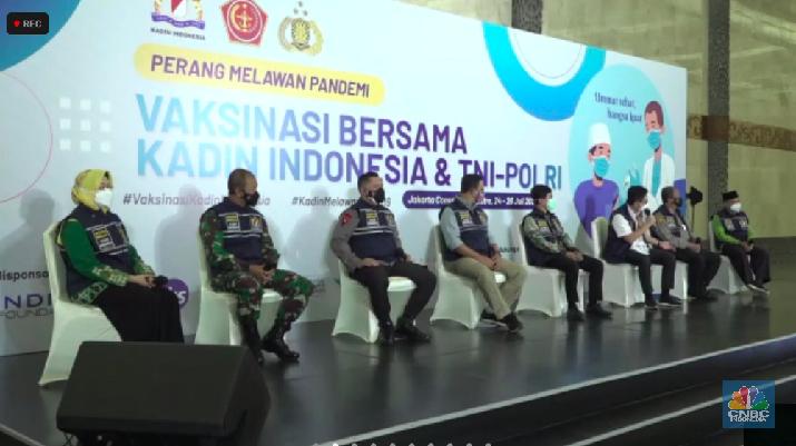 Vaksinasi Kadin di Jakarta Convention Center, Minggu 25 Juli 2021/Novina Putri Bestari