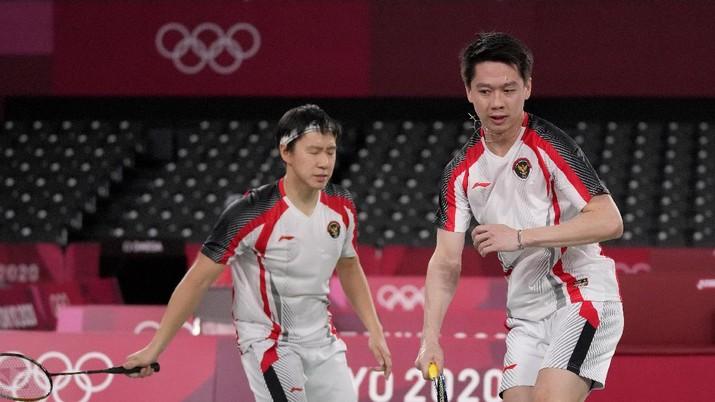 Kevin Sanjaya Sukamuljo dan Marcus Fernaldi Gideon di Olimpiade Tokyo 2020. (AP/Dita Alangkara)