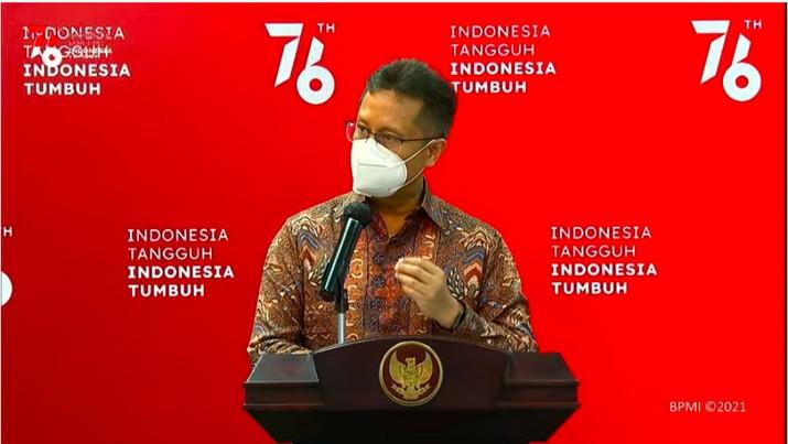 Menteri Kesehatan Budi Gunadi Sadikin dalam keterangan pers dari Kantor Presiden, Senin (26/7/2021).