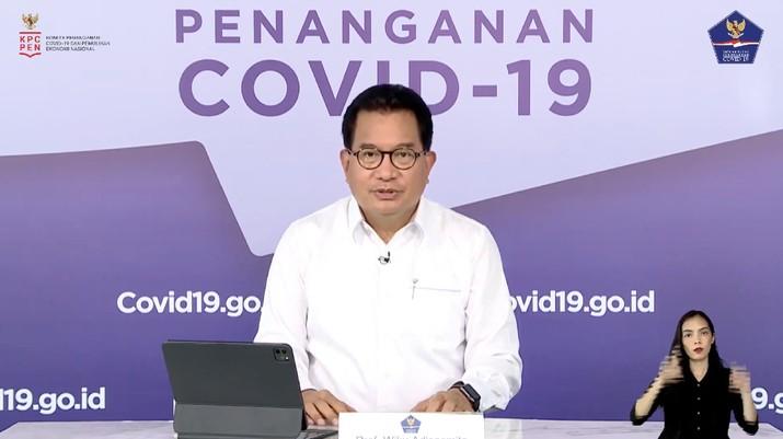 Wiku Adisasmito juru bicara gugus tugas percepatan penanganan Corona memberi Keterangan Pers Juru Bicara terkait Update Data Covid-19 Nasional. (Youtube/BNPB)