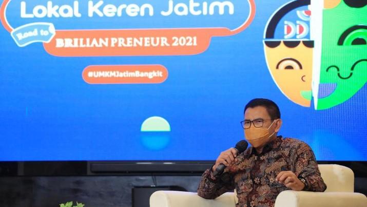 "PT Bank Rakyat Indonesia (Persero) Tbk (BBRI) menggelar pameran virtual industri kreatif UMKM yang merupakan bagian dari rangkaian kegiatan BRI UMKM EXPO(RT) BRILIANPRENEUR 2021 dengan tema ""Lokal Keren Jatim"" guna mendorong pengembangan UMKM di Provinsi Jawa Timur."