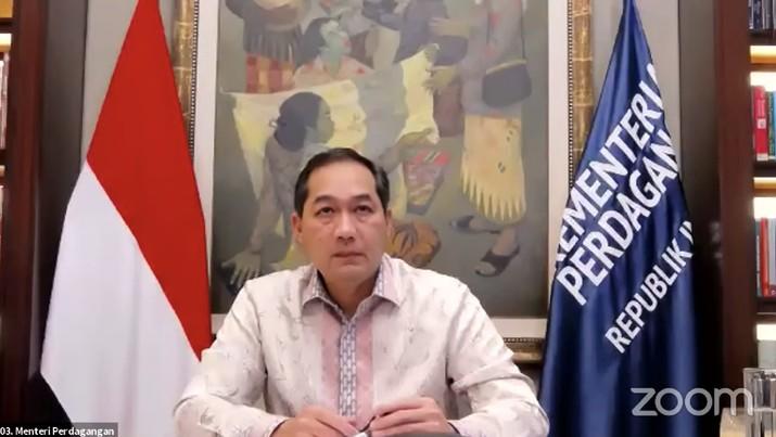 Menteri Perdagangan (Mendag), M. lutfi saat Konferensi Pers Pertumbuhan Ekonomi Indonesia Triwulan II-2021  (Tangkapan Layar Youtube Sekretariat Presiden)