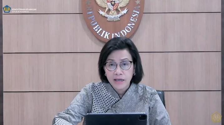 Menteri Keuangan Sri Mulyani Saat Konferensi Pers KSSK Triwulan III 2021. (Tangkapan Layar youtube @Kemekeu RI)