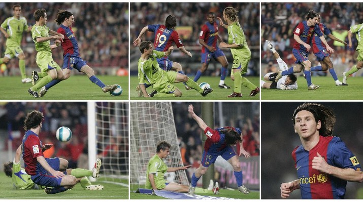In this combination of six pictures FC Barcelona forward Lionel Messi is seen dashing from his own half past Getafe players before rounding goalkeeper Luis Garcia and scoring from a narrow angle in the 29th minute at the Camp Nou stadium in Barcelona, Spain, Wednesday, April 18, 2007. Messi has drawn further comparisons with Diego Maradona by scoring a near replica of one of the former Argentina captain's most famous goals. Messi emulated Maradona's winner against England in the 1986 World Cup quarterfinals in scoring Barcelona's second goal in a 5-2 win over Getafe in the Copa del Rey semifinals. (AP Photos/Manu Fernandez)