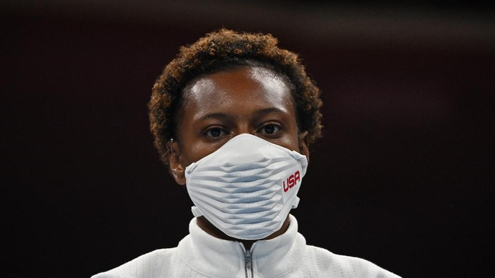 Bronze medal winner Oshae Jones, from the United States, during the women's welterweight 69-kg medal ceremony at the 2020 Summer Olympics, Saturday, Aug. 7, 2021, in Tokyo, Japan. (Luis Robayo/Pool Photo via AP)