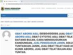 Parah! Penjual Obat Aborsi Gentayangan di Situs Pemerintah