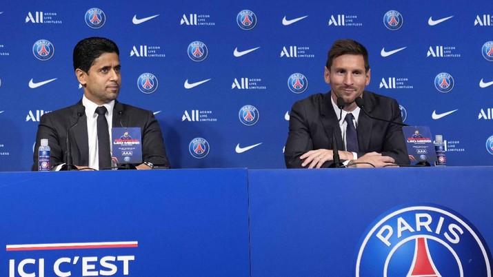 Pemain Paris Saint-Germain (PSG), Lionel Messi. (AP/Francois Mori)