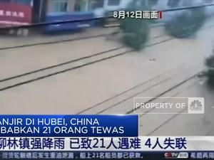 Banjir di Hubei, China Sebabkan 21 Orang Tewas