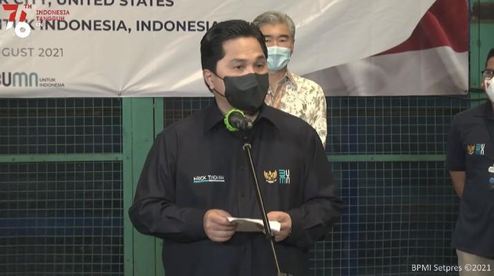 Menteri BUMN Erick Thohir di acara Kedatangan Dukungan Alat Kesehatan Covid-19 dari New York, 17 Agustus 2021. (Tangkapan Layar Youtube Sekretariat Presiden RI)