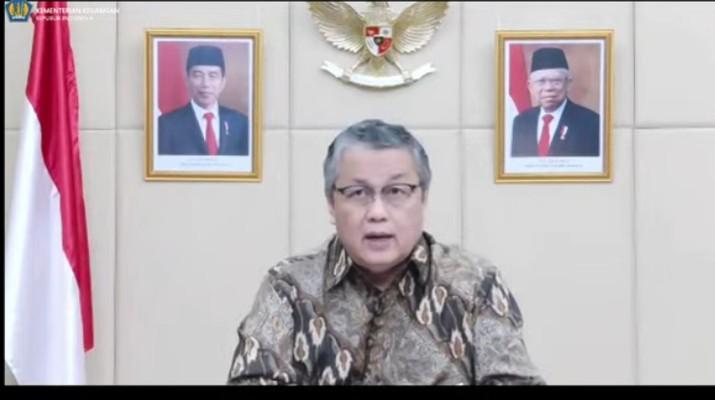 Gubernur Bank Indonesia Perry Warjiyo Saat Konfrensi Pers Mengenai Pemerintah & Bank Indonesia Perkuat Kerja Sama dlm Pembiayaan Sektor Kesehatan & Kemanusiaan (Tangkapan Layar Youtube Kemenkeu RI)
