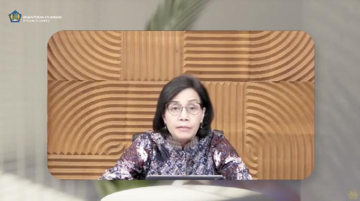 Menteri Keuangan Sri Mulyani saat Konferensi Pers APBN KITA Edisi Agustus 2021. (Tangkapan Layar Youtube/Menteri Keuangan)