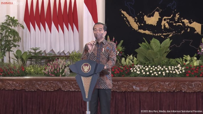 Presiden RI Jokowi di acara Peresmian Pembukaan Rakornas Pengendalian Inflasi Tahun 2021, Istana Negara, 25 Agustus 2021. (Tangkapan Layar Youtube/Sekretariat Presiden RI)