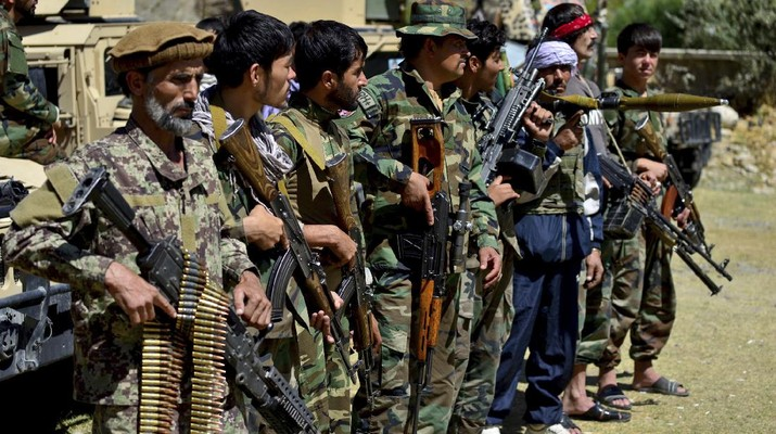 Militiamen loyal to Ahmad Massoud, son of the late Ahmad Shah Massoud, hold their weapons, in Panjshir province northeastern Afghanistan, Thursday, Aug. 26, 2021. The Panjshir Valley is the last region not under Taliban control following their stunning blitz across Afghanistan. Local fighters held off the Soviets in the 1980s and the Taliban a decade later under the leadership of Ahmad Shah Massoud, a guerrilla fighter who attained near-mythic status before he was killed in a suicide bombing. (AP Photo/Jalaluddin Sekandar)