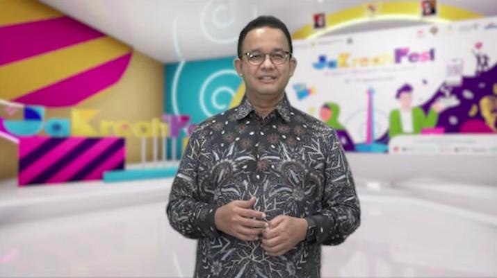 Gubernur DKI Jakarta, Anies Baswedan saat pembukaan JaKreatiFest 2021. (Tangkapan Layar Youtube BI Jakarta)