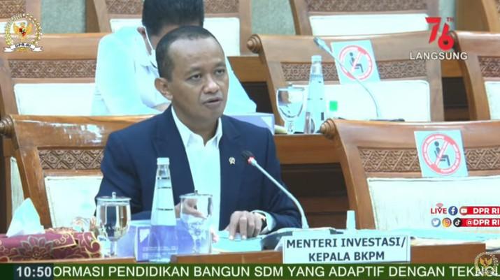 Komisi VI DPR RI Rapat Kerja dengan Menteri Investasi/Kepala BKPM RI, Bahlil Lahadalia. (Tangkapan Layar Youtube DPR RI)
