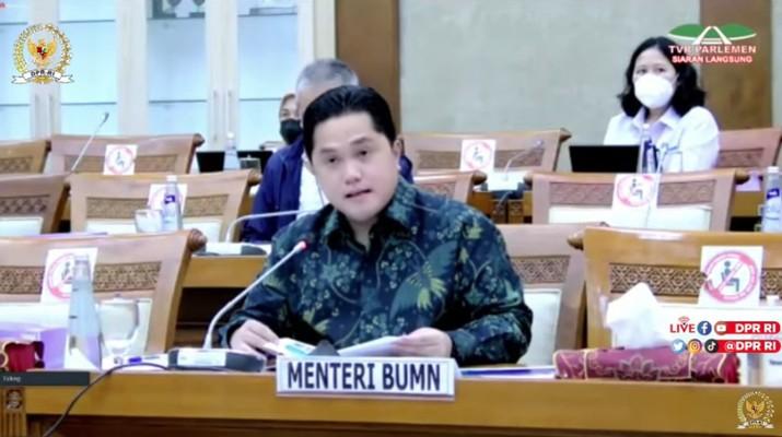 Rapat Kerja Komisi VI DPR RI dengan Menteri BUMN Erick Thohir (Tangkapan Layar Youtube DPR RI)