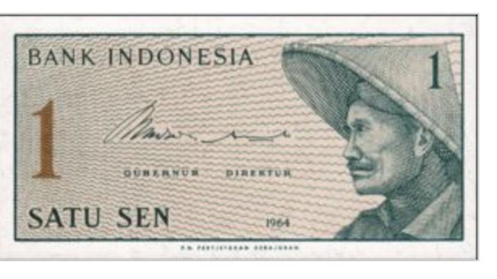 Uang kertas 1 sen keluaran tahun 1964. (Dok: Gallery Uang Kertas)
