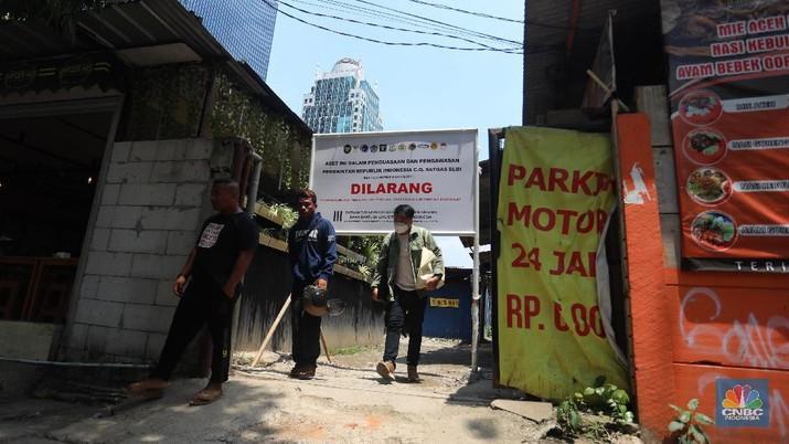 Lahan sitaan satgas BLBI di Karet Tengsin. (CNBC Indonesia/Andrean Kristianto)