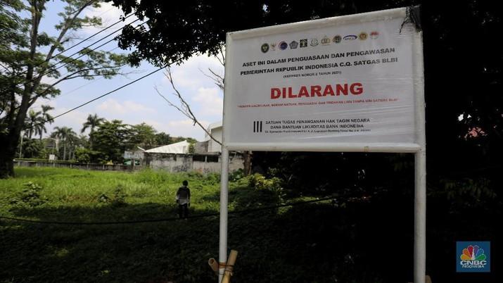 Lahan sitaan satgas BLBI di Pondok Pinang. (CNBC Indonesia/Andrean Kristianto)