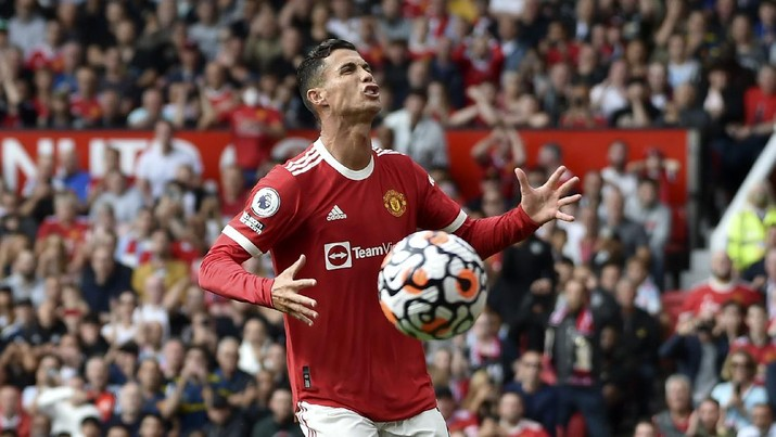 Manchester United's Cristiano Ronaldo reacts during the English Premier League soccer match between Manchester United and Newcastle United at Old Trafford stadium in Manchester, England, Saturday, Sept. 11, 2021. (AP Photo/Rui Vieira)