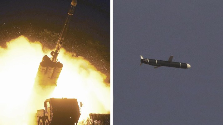 This combination of photos provided by the North Korean government on Monday, Sept. 13, 2021, shows long-range cruise missiles tests held on Sept. 11 -12, 2021 in an undisclosed location of North Korea. North Korea says it successfully test fired what it described as newly developed long-range cruise missiles over the weekend, its first known testing activity in months that underscored how it continues to expand its military capabilities amid a stalemate in nuclear negotiations with the United States. Independent journalists were not given access to cover the event depicted in this image distributed by the North Korean government. The content of this image is as provided and cannot be independently verified. Korean language watermark on image as provided by source reads: