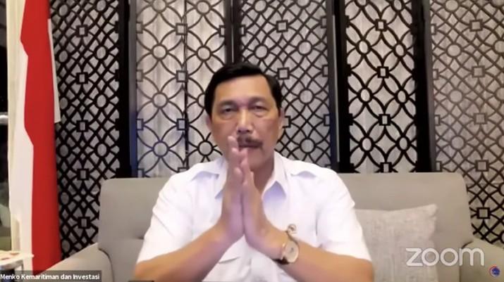 Menteri Koordinator Bidang Kemaritiman dan Investasi RI, Luhut Binsar Pandjaitan memberi keterangan pers update penanganan Covid-19. (Tangkapan Layar Youtube Perekonomian RI)