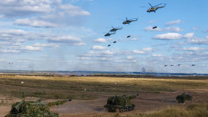 Russian MI-24 attack helicopters fire rockets during the active phase of the military exercises