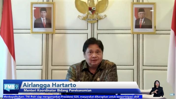 Menteri Koordinator Bidang Perekonomian RI, Airlangga Hartarto dalam konferensi pers menuju Presidensi G20 Tahun 2022. (Tangkapan Layar Youtube/FMB9ID_IKP)