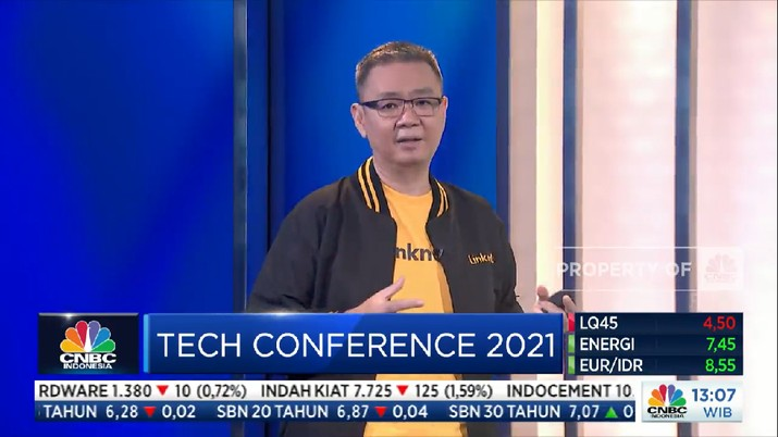 Edward Sanusi, Chief Technology & Product Officer PT Link Net Tbk di acara CNBC Indonesia Tech Conference