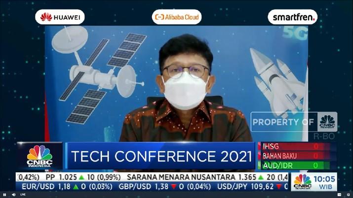 Keynote Speech Menteri Komunikasi dan Informatika, Johnny G. Plate di acara CNBC Indonesia Tech Conference