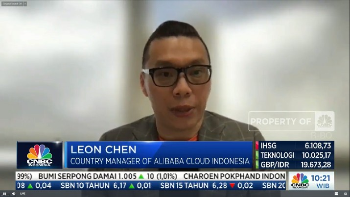 Leon Chen, Country Manager of Alibaba Cloud Indonesia di acara CNBC Indonesia Tech Conference