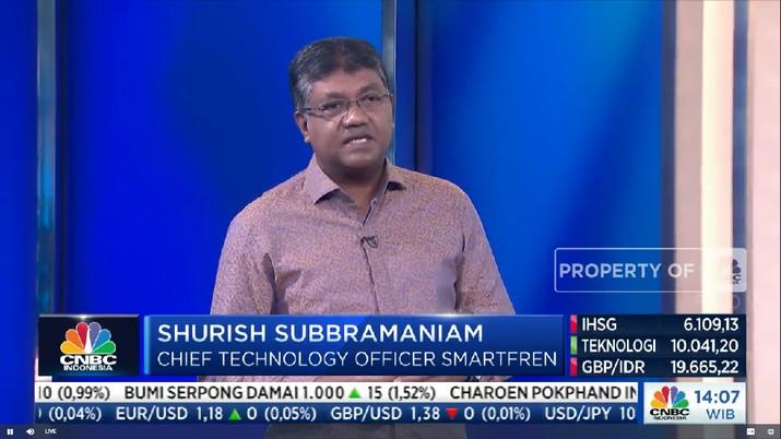 Shurish Subbramaniam, Chief Technology Officer - PT Smartfren Telecom Tbk di acara CNBC Indonesia Tech Conference
