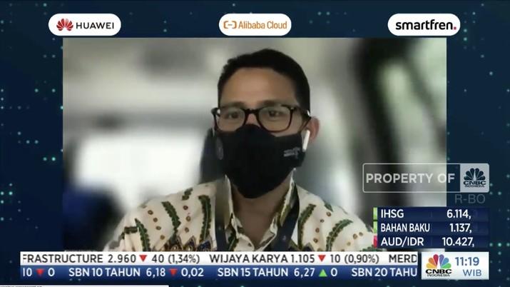 Sandiaga Uno, Menteri Pariwisata dan Ekonomi Kreatif di acara CNBC Indonesia Tech Conference