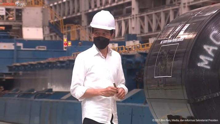 foto/ Peresmian Pabrik Industri Baja PT. Krakatau Steel (persero) Tbk, Kota Cilegon, 21 September 2021/ Youtu: Setpres