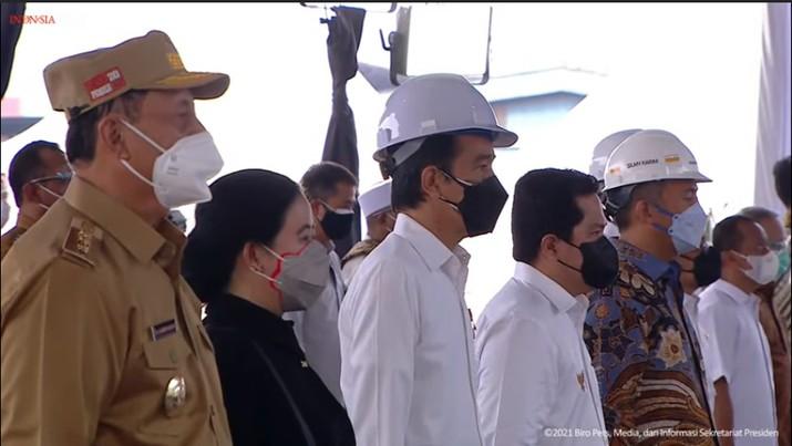 foto/ Peresmian Pabrik Industri Baja PT. Krakatau Steel (persero) Tbk, Kota Cilegon, 21 September 2021/ Youtube: Setpres