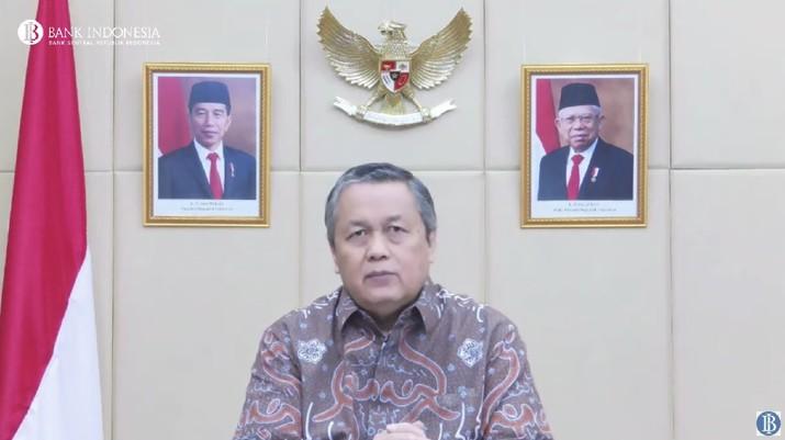 Gubernur Bank Indonesia, Perry Warjiyo Saat Pengumuman Hasil Rapat Dewan Gubernur Bulanan Bulan September 2021. (Tangkapan Layar Youtube Bank Indonesia)
