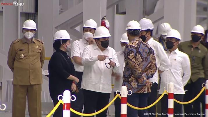 Peresmian Pabrik Industri Baja PT. Krakatau Steel (persero) Tbk, Kota Cilegon 9Tangkapan Layar Youtube Sekretariat Presiden)