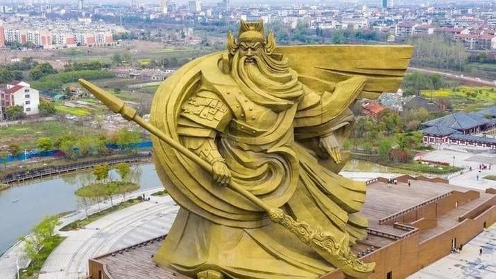 Patung Guan Yu di Jingzhou. (Tangkapan Layar via weibo)